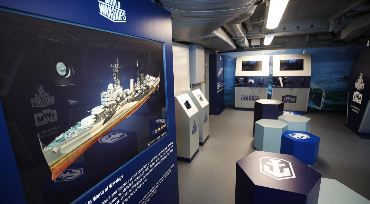 The 'World of Warships: Command Center' interactive gaming room on board HMS Belfast