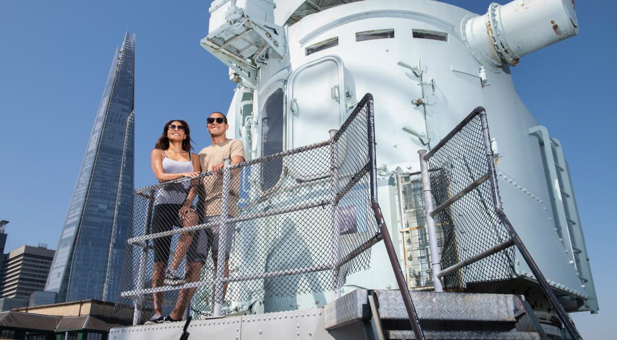 Visitors on the Flag Deck on board HMS Belfast