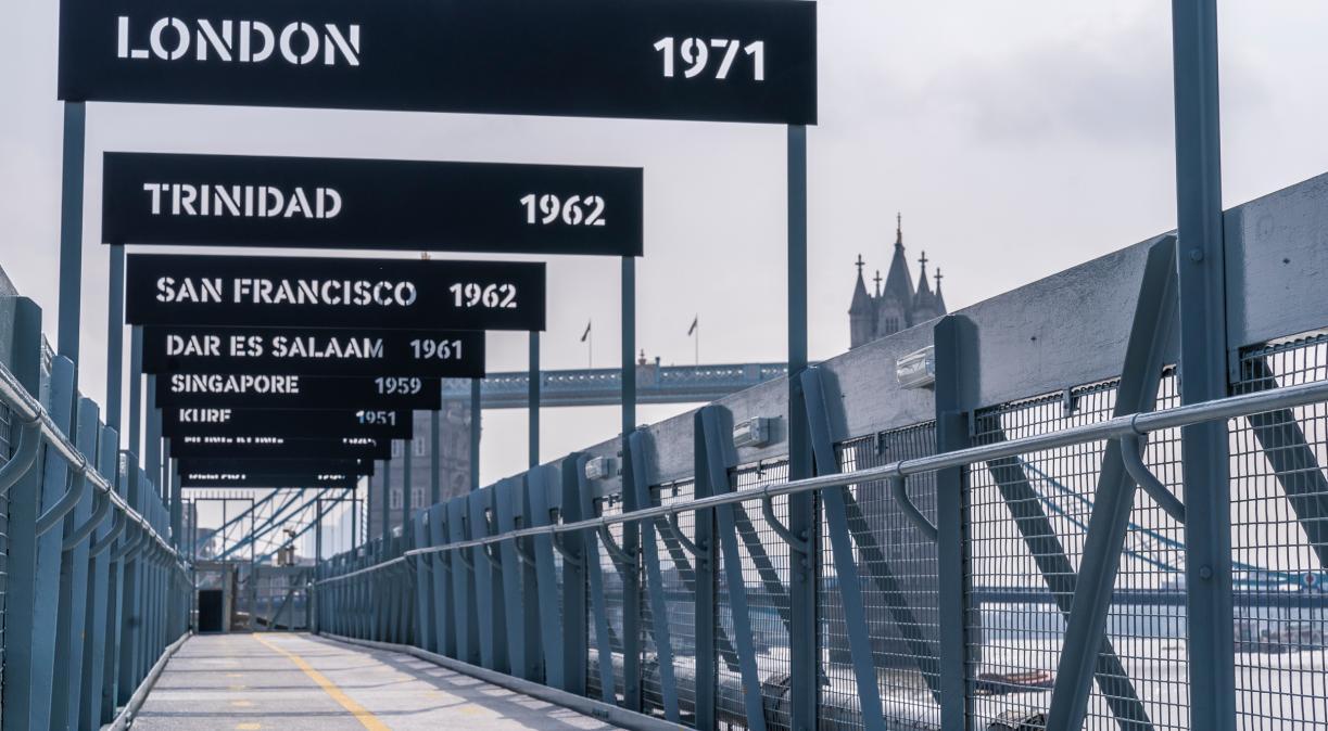 25 years at sea signage on the bridge of HMS Belfast