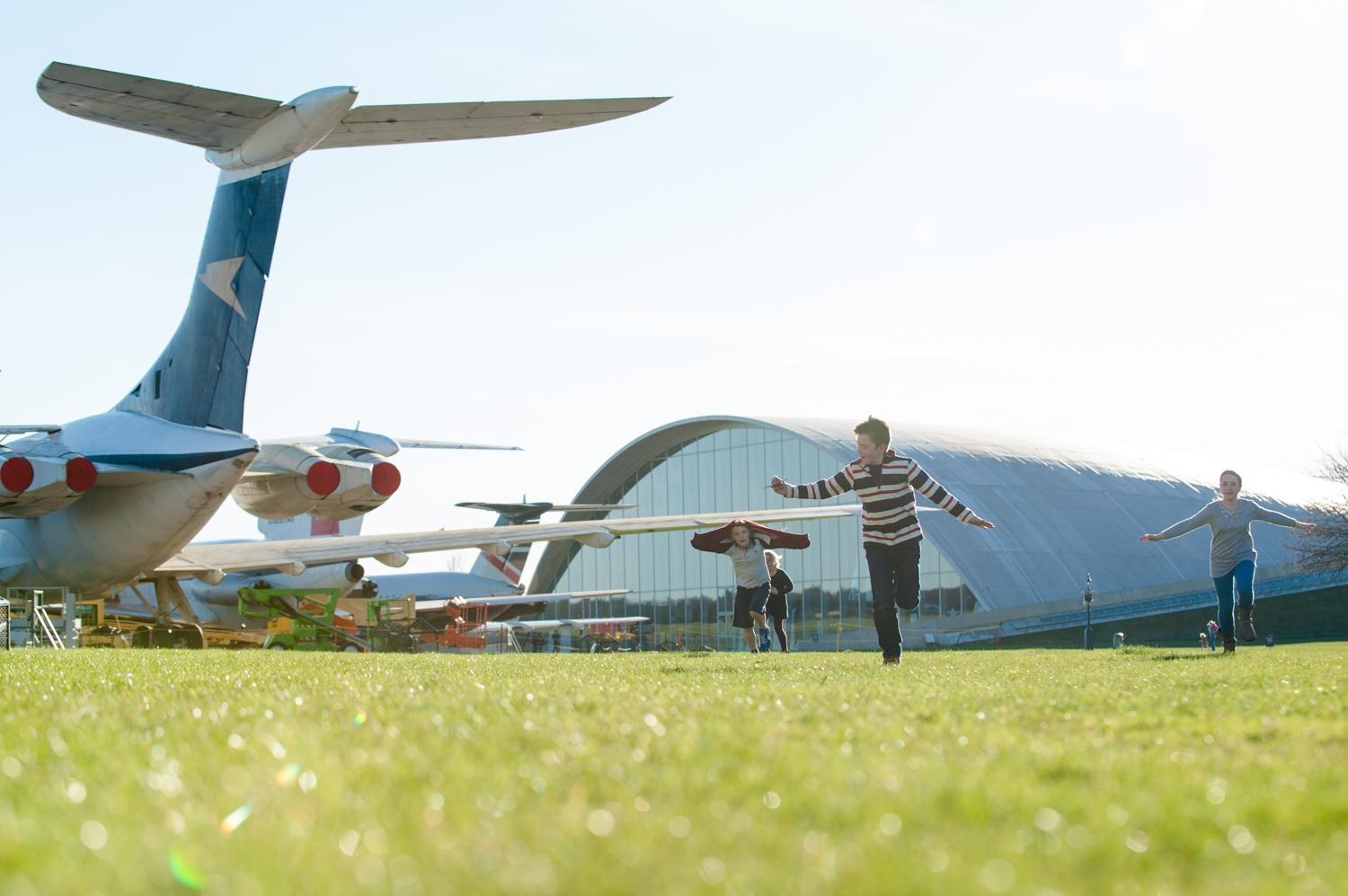 IWM Duxford, Children running between planes