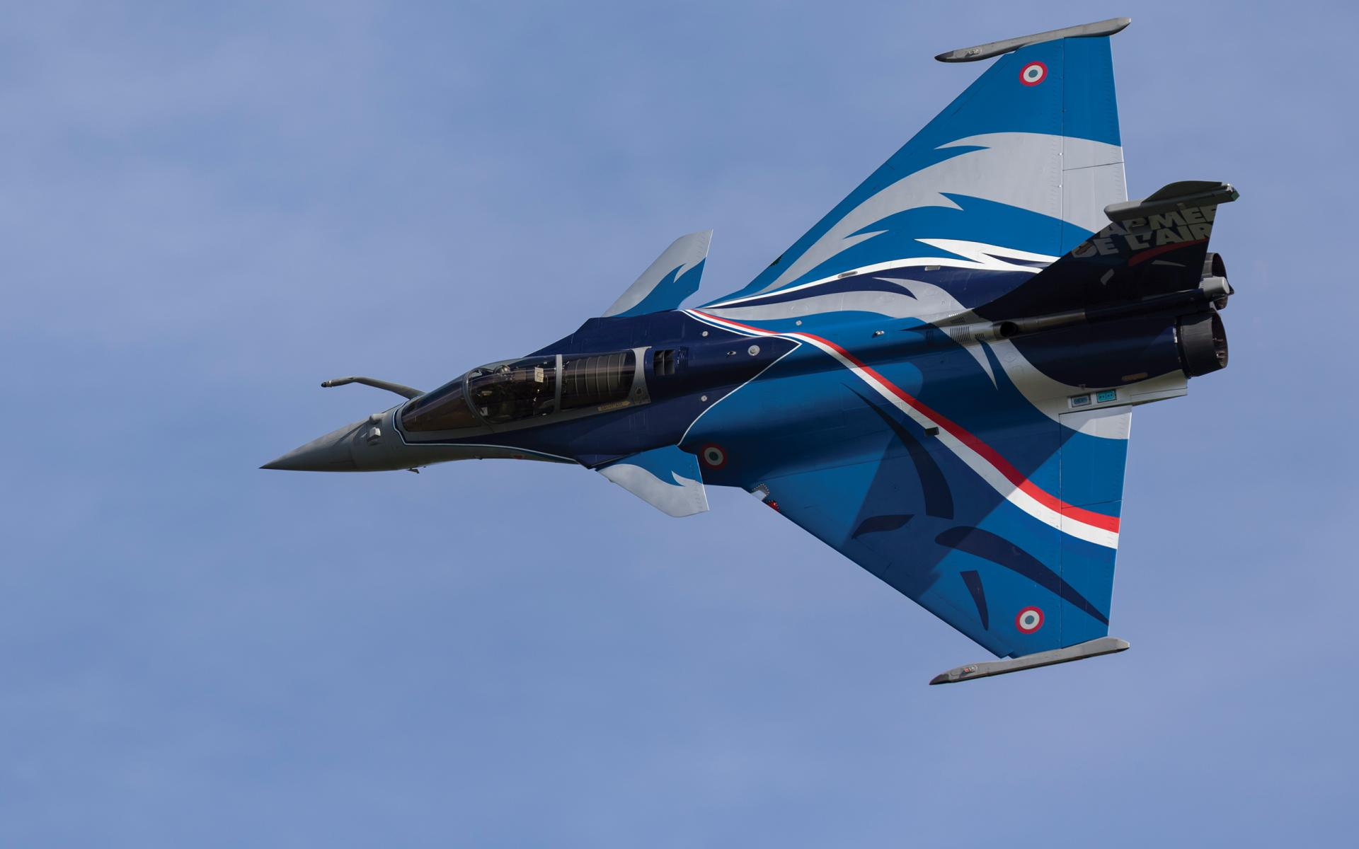 A Dassualt Rafale of The French Air Force shows its 2017 livery to the duxford crowd