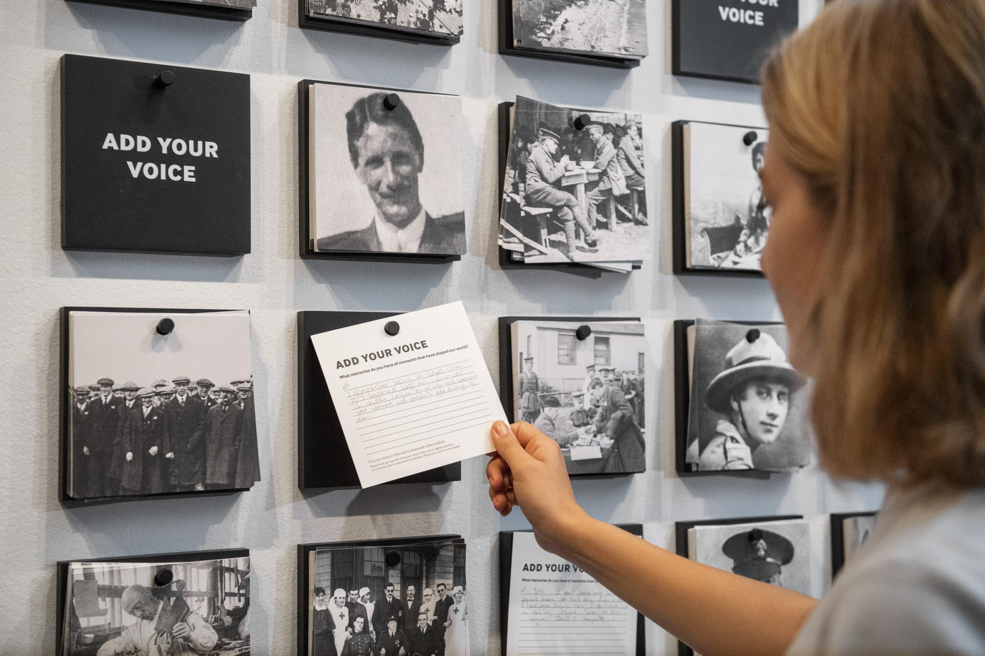 Installation view of I Was There: Room of Voices at IWM London
