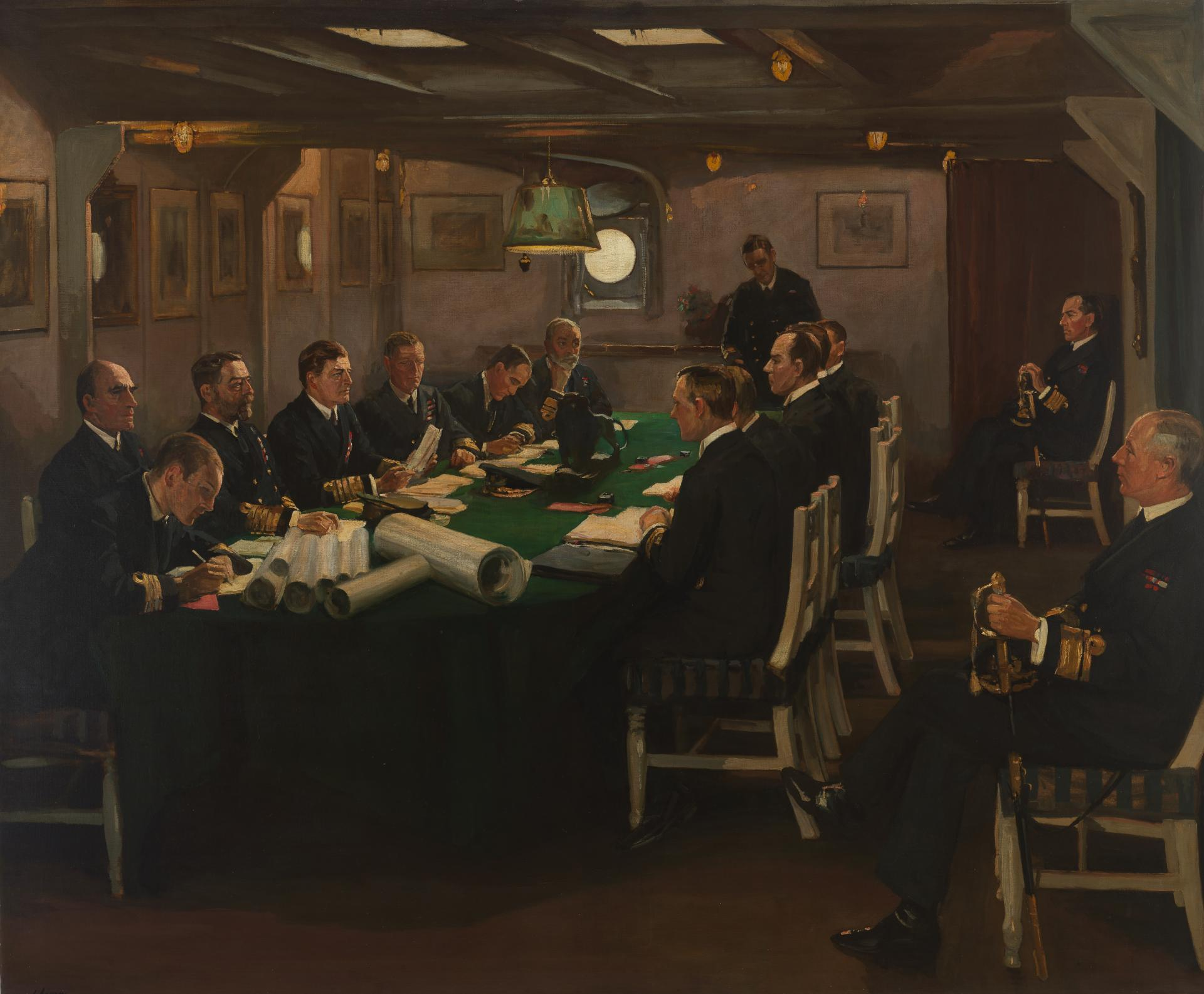 "Painting of The fore-cabin of ""HMS Queen Elizabeth"" with Admiral Beatty reading the terms of the surrender of the German Navy, Rosyth, 16th November 1918"