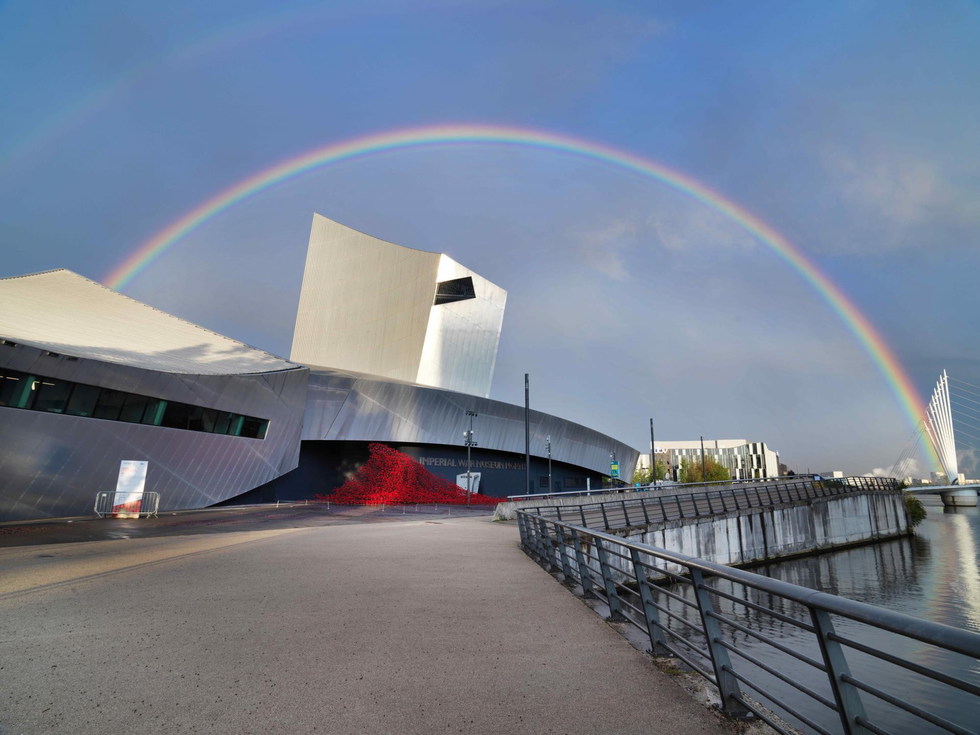 External view of IWM North with rainbow