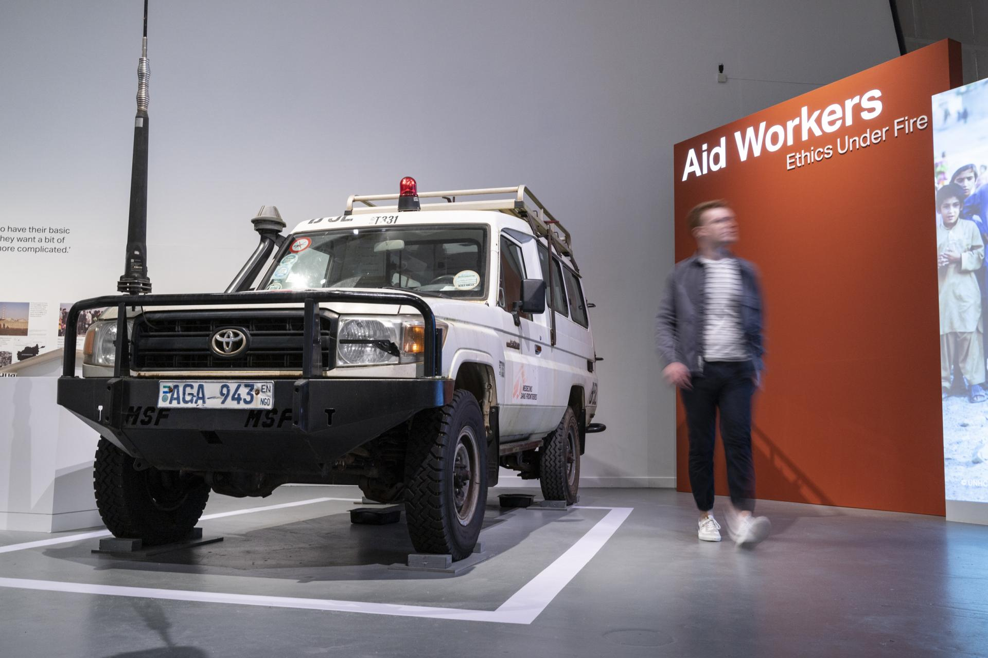 A Médecins Sans Frontières Land Cruiser in Aid Workers Exhibition