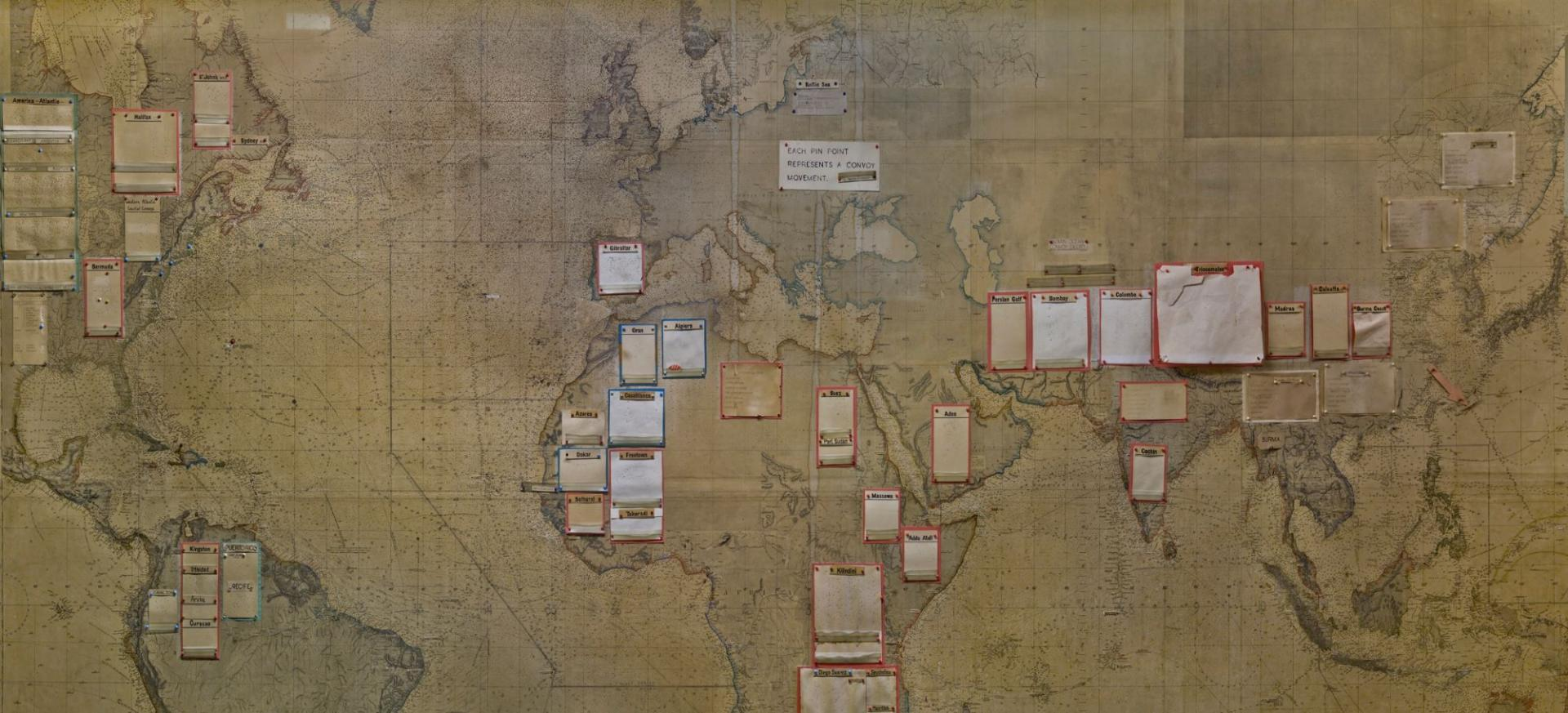 Plans on a map at Churchill War Rooms