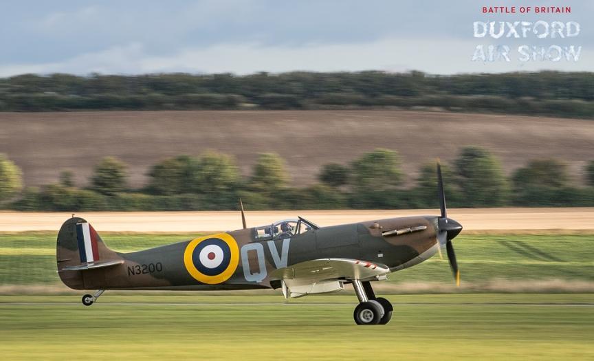 Spitfire N3200 taking of at IWM Duxford