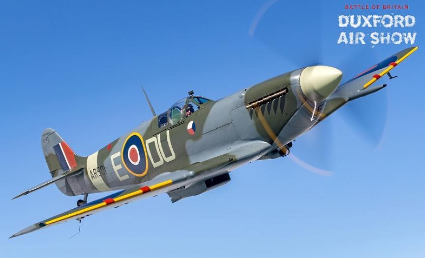 Spitfire Mk.Vc against a blue sky