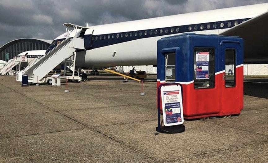 VC-10 of the Duxford Aircraft Society and a ticket booth