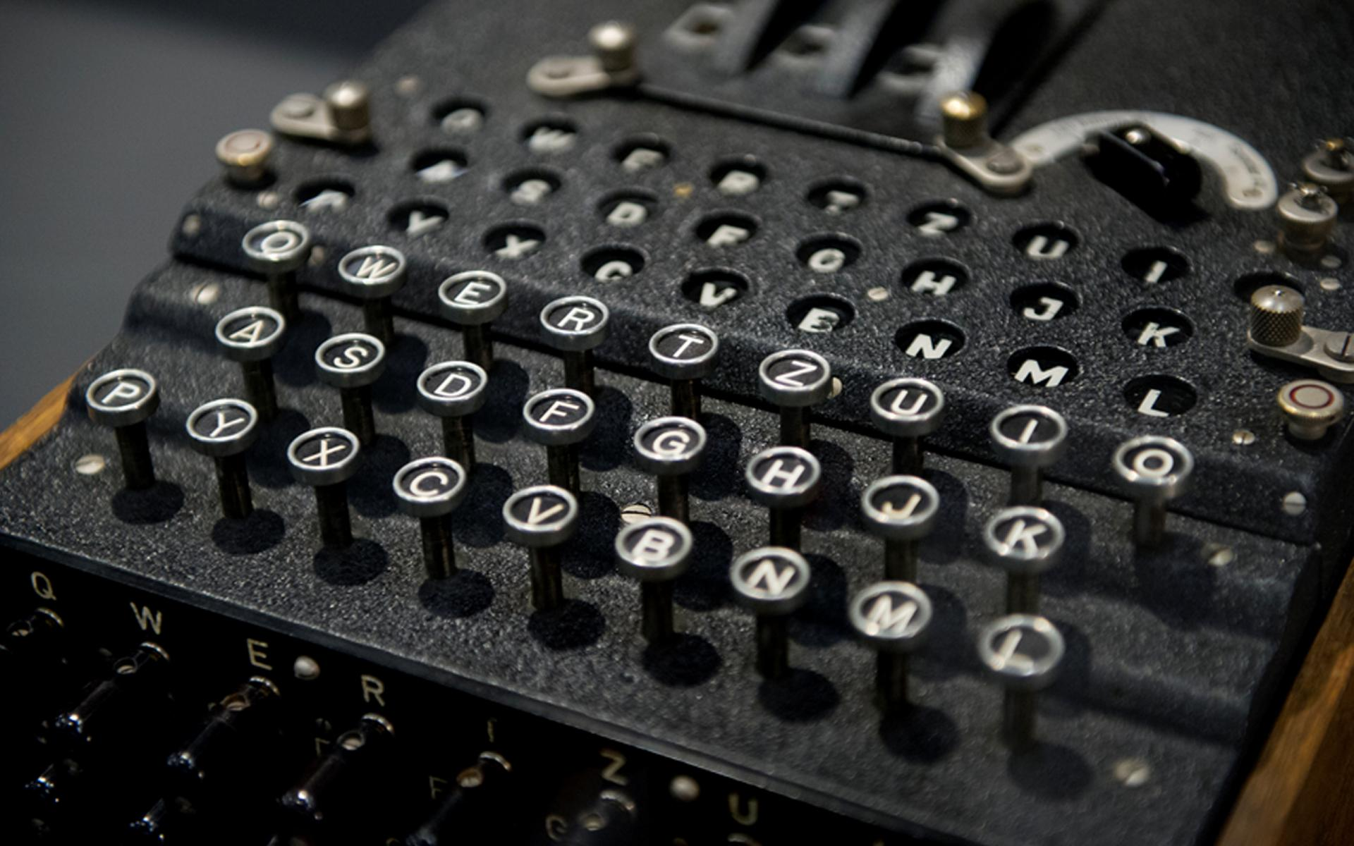 Enigma machine on display in the Turning Points gallery