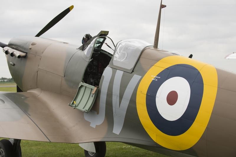 The open canopy of a grounded Spitfire