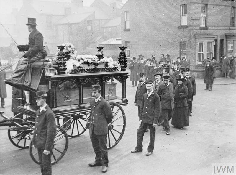 A funeral procession behind the horse-drawn hearse of Postman Beal who was killed in the German naval bombardment of Scarborough, December 1914.