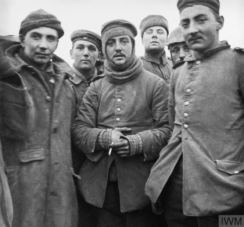 A snapshot taken by a British officer showing German and British troops fraternising on the Western Front during the Christmas Truce of 1914.