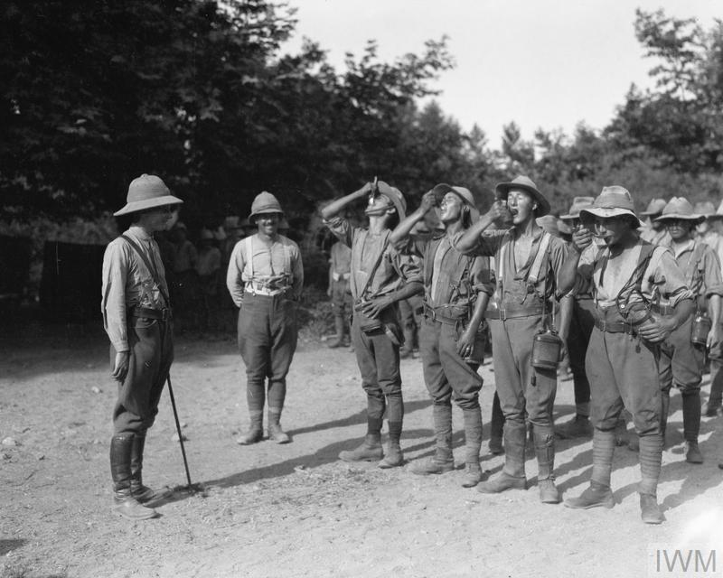 British troops taking their daily dose of quinine, July 1916. In total the British Salonika Force suffered 481,262 non-battle casualties of which 162,517 were due to malaria.