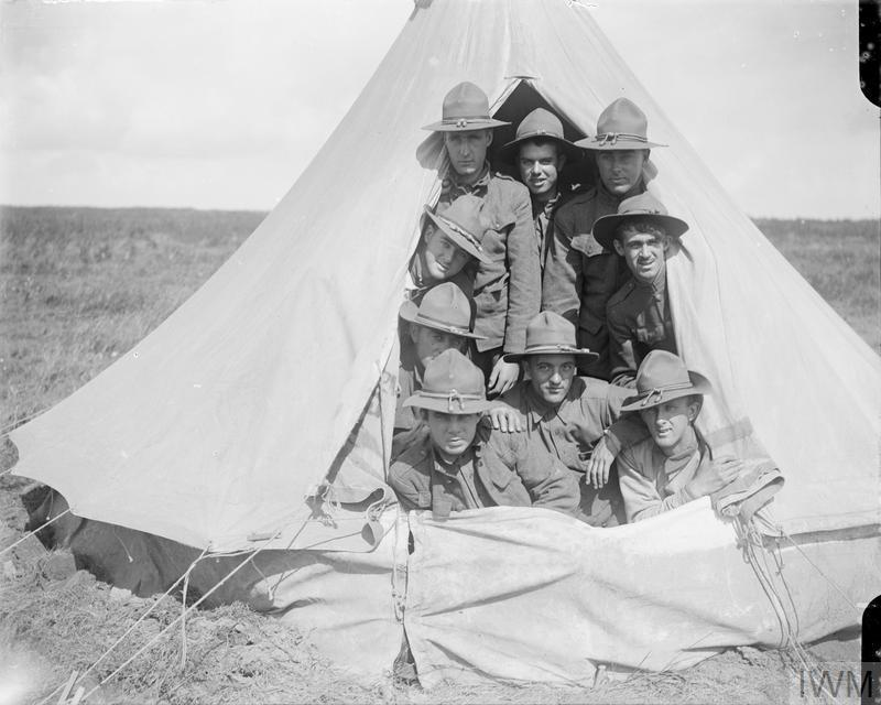 Troops of the railway regiments, the US Army Corps of Engineers, in a tent at the light railway depot at Boisleux-au-Mont, 2 September 1917.