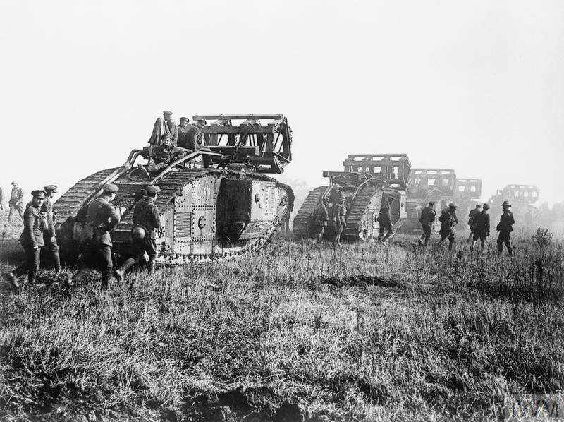 Battle of St Quentin Canal (Saint-Quentin). Mark V Tanks going forward with the 'cribs' carried to enable them to cross the Hindenburg Line, Bellicourt, 29th September 1918.