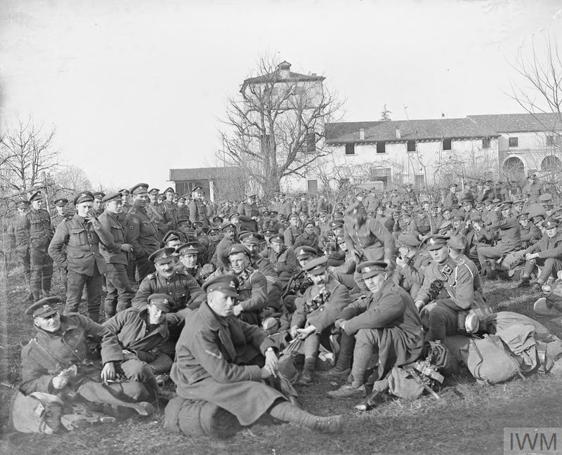 British troops to be demobilized assembled in the grounds of the Expeditionary Force Canteens.