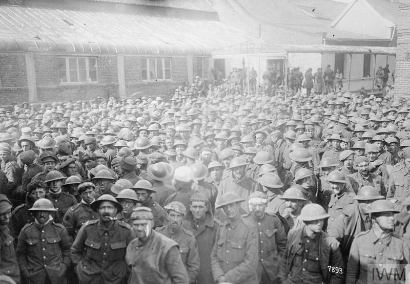 A batch of 4000 British prisoners captured behind Bapaume and Arras at a collecting point in front of Arras, March 1918.