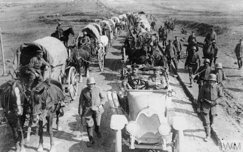 A German transport column moving forward along the Albert-Bapaume road, March 1918.