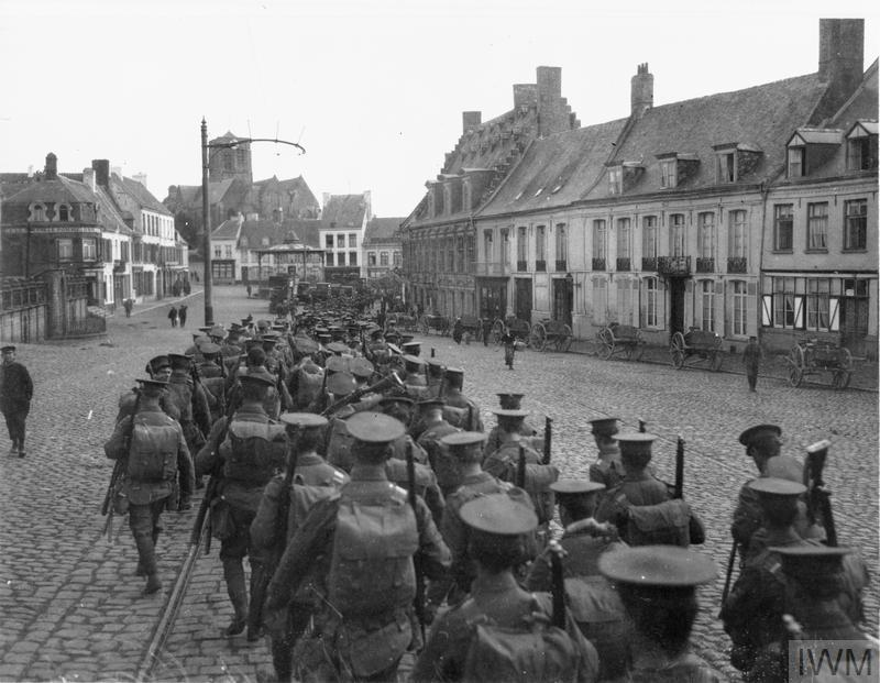 British soldiers marching through Cassel, France.