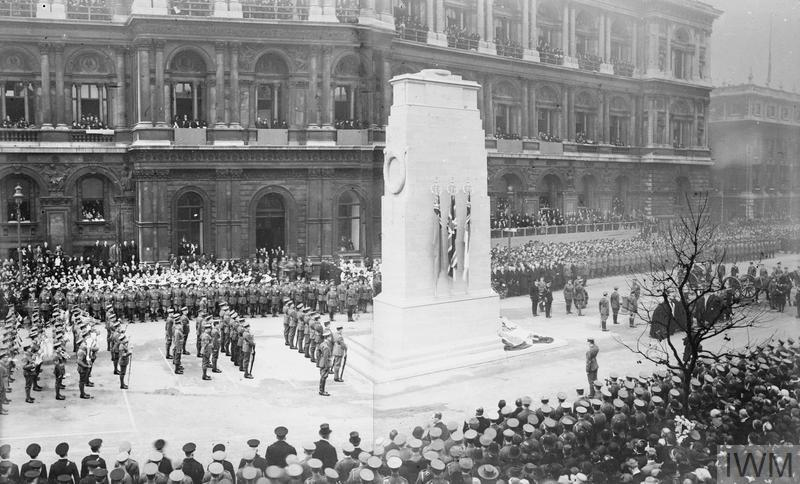 The unveiling of the permanent Cenotaph at Whitehall, by King George V, 11 November 1920.