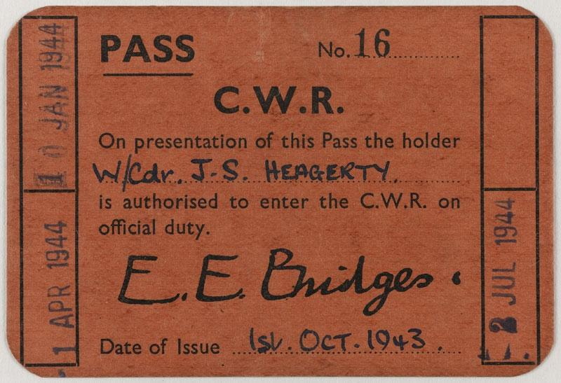 Entrance pass belonging to Wing Commander J S Heagerty. © IWM Documents.2995.