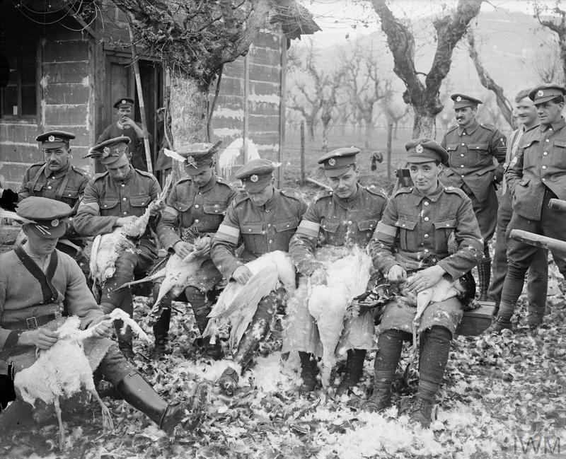 Troops of the Royal Engineers signals section plucking turkeys for Christmas Day, 23/24 December 1918.