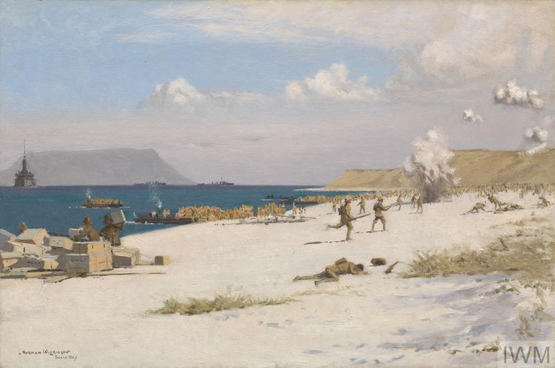 'Troops Landing on C Beach, Suvla Bay, Later in the Day, 7th August 1915' by Norman Wilkinson.