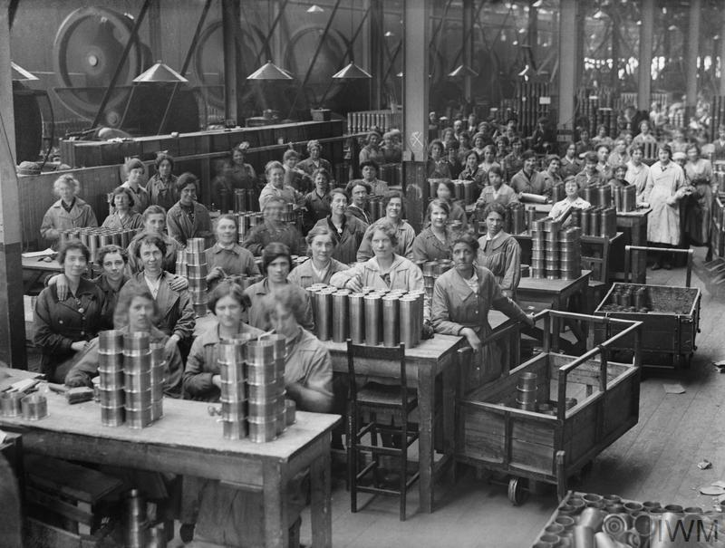 Women workers range shell cases in the New Case Shop at the Woolwich Arsenal.