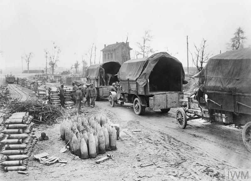 Ammunition Supply. An ammunition dump at a broad gauge and metro gauge railhead. Lorries loading to take ammunition to forward dump. © IWM (Q 10451)