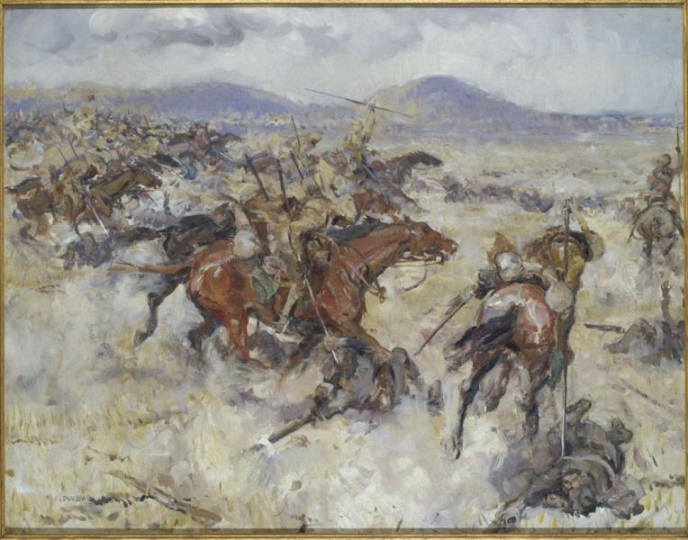 A line of Indian lancers charge at Turkish infantry across a valley, with high ground visible in the background. In the foreground two Turkish infantrymen lie on the ground as they are speared by two Indian lancers.