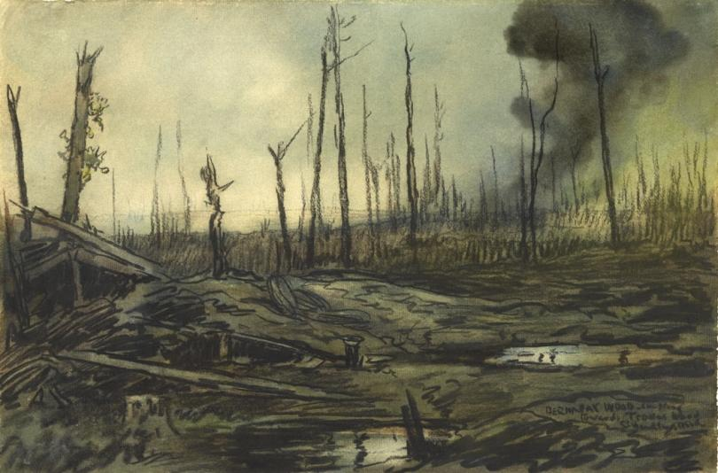 a view across a desolate and battle-scarred Somme landscape. There are flooded shell holes in the foreground, and clouds of smoke rising from the land in the distance. There are the shattered tree trunks of Bernafay Wood jutting out from the ground, an indication of what used to be a woodland area.