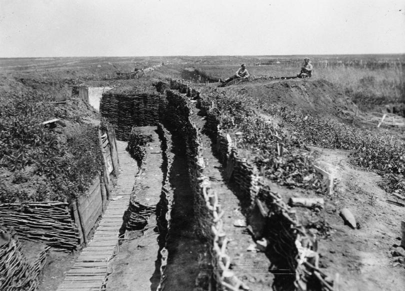 Russian troops resting in captured Austro-Hungarian trenches, summer 1916.