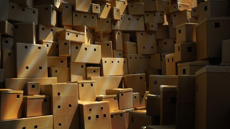 Makhoul's new installation is a village constructed out of cardboard boxes. © IWM.