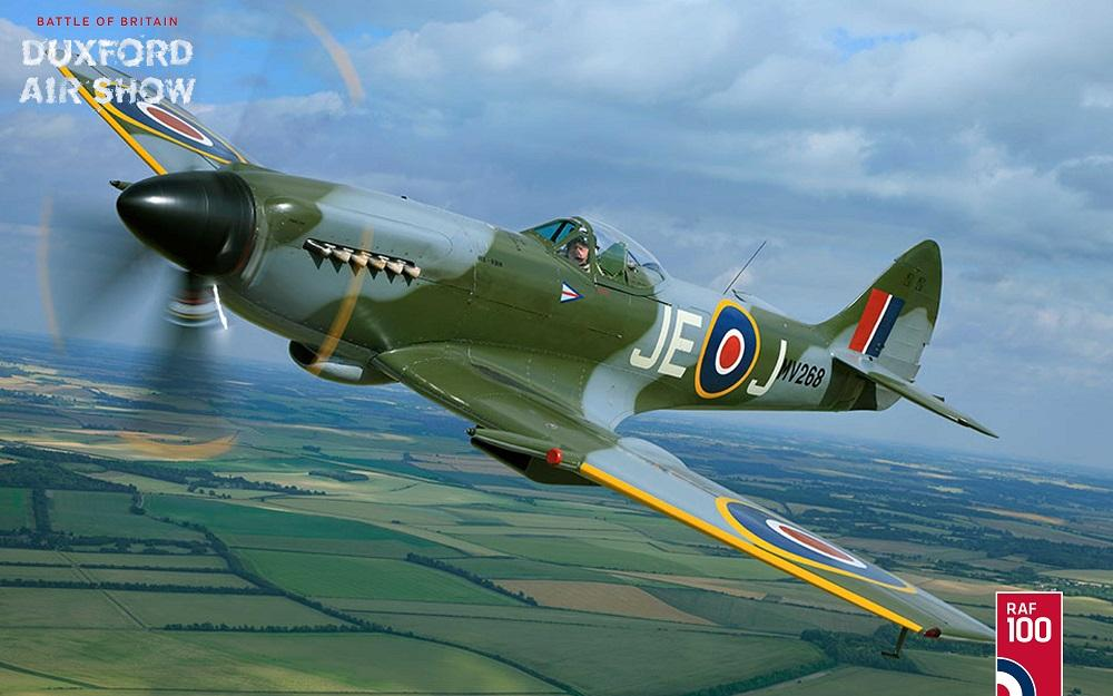 Supermarine Spitfire XIVe over the British countryside