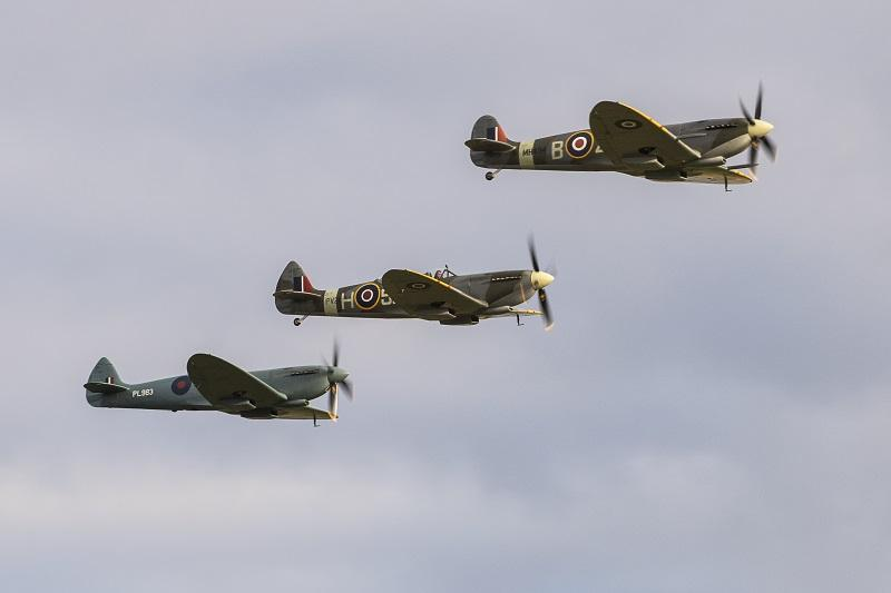 Trio of Spitfires at Duxford Battle of Britain Air Show 2018