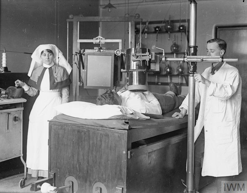A man undergoing radiographic treatment, No. 4 London General Hospital.