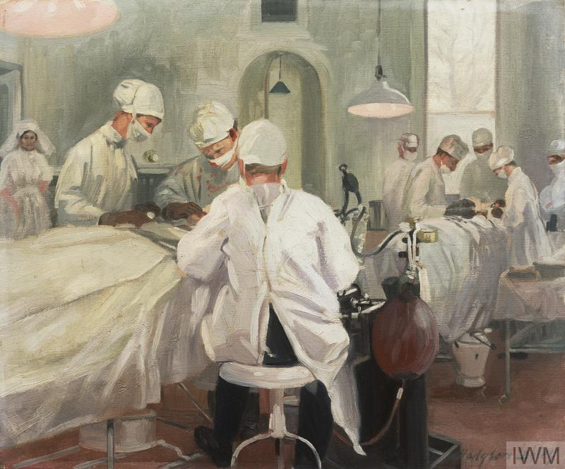 The Queen's Hospital for Facial Injuries, Frognal, Sidcup: the operating theatre. Artwork by J. Hodgson Lobley