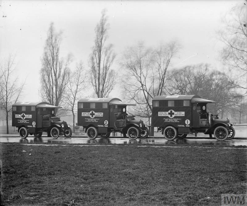 Postal vans No. 1, 2, and 3 of the British Red Cross Society presented by the British Farmers' Red Cross Fund, Lancashire County Branch