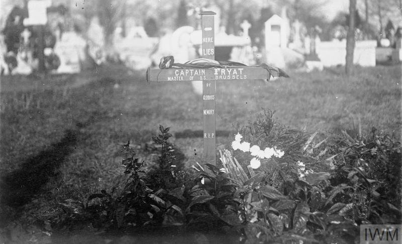 A photograph of the grave of Captain Charles Fryatt, captain of the British merchant vessel SS BRUSSELS