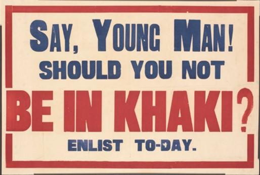 Poster 'Say, Young Man! Should you not be in khaki? Enlist Today'