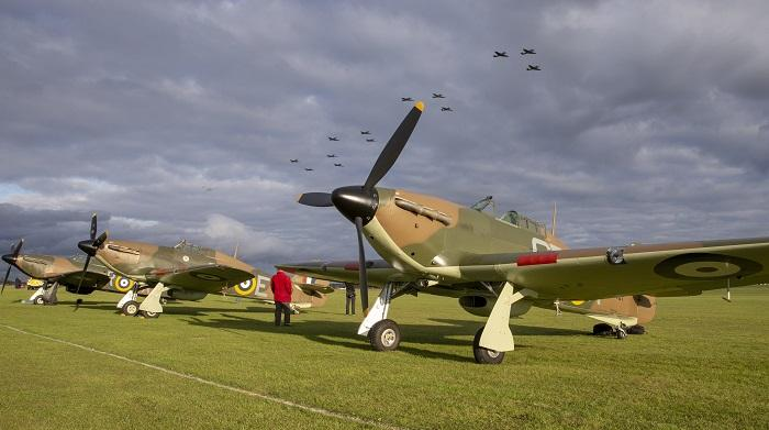 Hawker Hurricanes line up at Duxford Air Shows