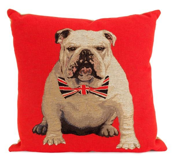 Red cushion with bulldog wearing a union flag bow tie