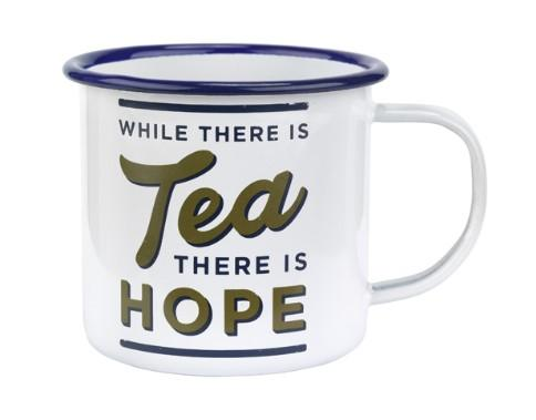 Enamel mug from the Imperial War Museums shop with motto 'While there is tea there is hope'