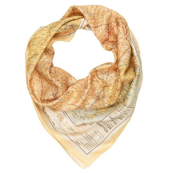 Silk scarf printed with a map from IWM online shop