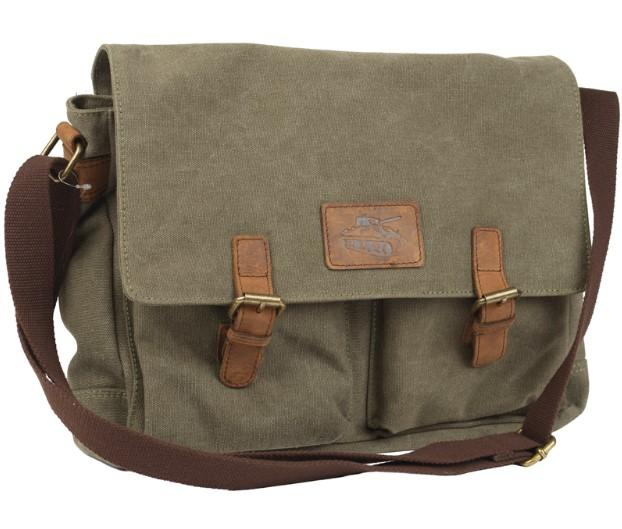 Canvas messenger bag with leather details and tank image