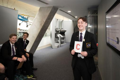 Students taking part in Cold War Learning Session, Duxford