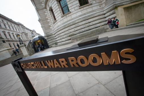 Churchill War Rooms with exterior sign