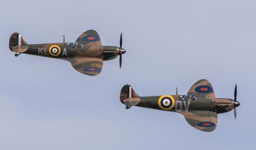 Spitfires flying in the skies above Duxford