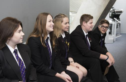 Pupils on a school visit to IWM Duxford